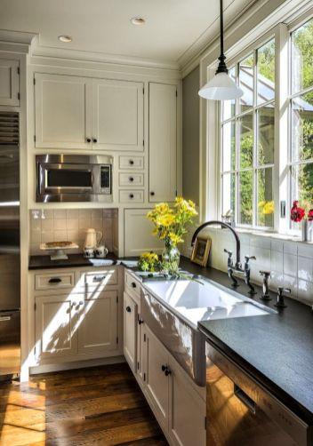 Stylish kitchen designs ideas with corner sinks 21