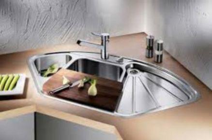 Stylish kitchen designs ideas with corner sinks 45