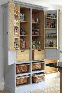Amazing stand alone kitchen pantry design ideas (21)