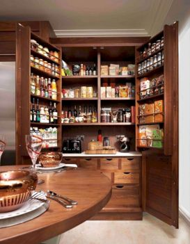 Amazing stand alone kitchen pantry design ideas (44)