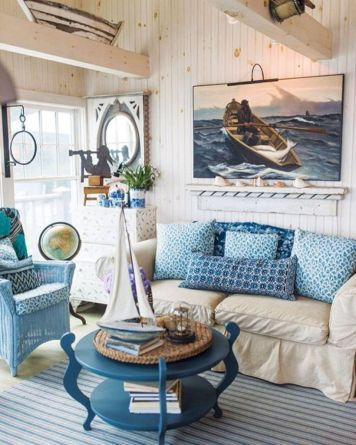Creative diy beachy living room decor ideas (17)