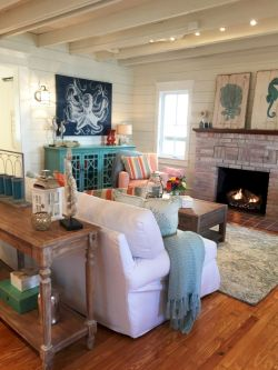 Creative diy beachy living room decor ideas (5)