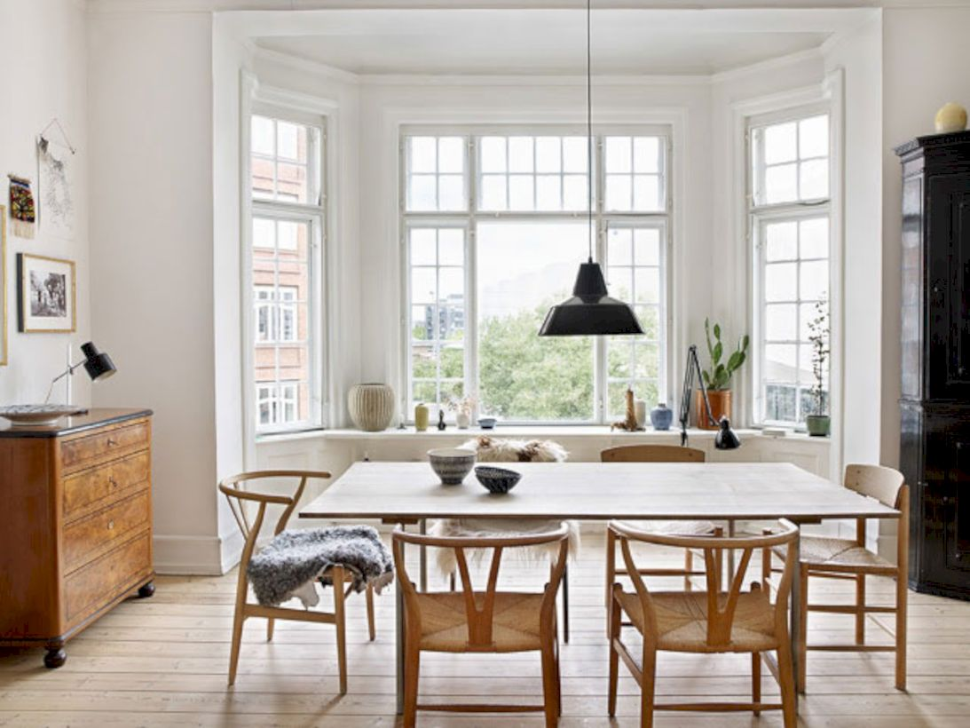 Mid century scandinavian dining room design ideas (53)