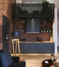 Small modern industrial apartment decoration ideas 40