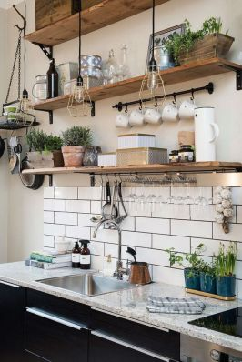 Small modern industrial apartment decoration ideas 43