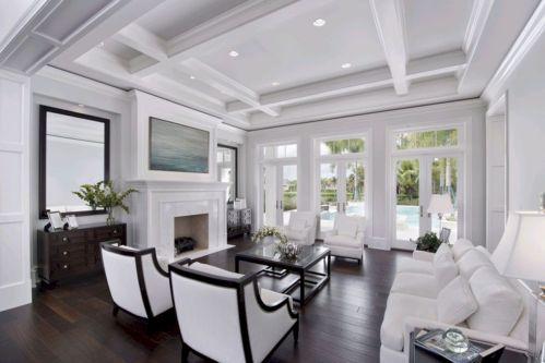 Stylish dark wood floor ideas for your living room (35)