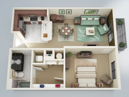 Cool one bedroom apartment plans ideas 13