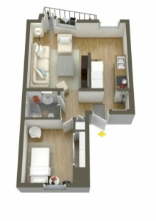 Cool one bedroom apartment plans ideas 14