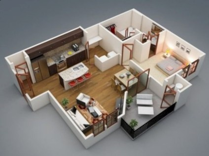 Cool one bedroom apartment plans ideas 22