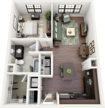 Cool one bedroom apartment plans ideas 30