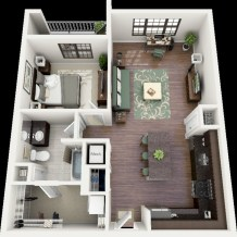 Cool one bedroom apartment plans ideas 35