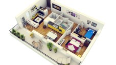 Creative two bedroom apartment plans ideas 03
