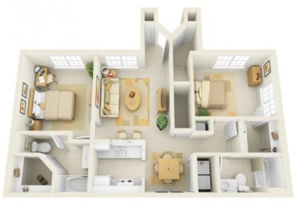 Creative two bedroom apartment plans ideas 08