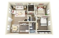 Creative two bedroom apartment plans ideas 09