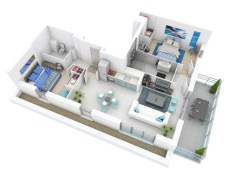 Creative two bedroom apartment plans ideas 10