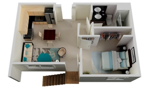 Creative two bedroom apartment plans ideas 19