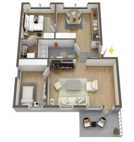 Creative two bedroom apartment plans ideas 26