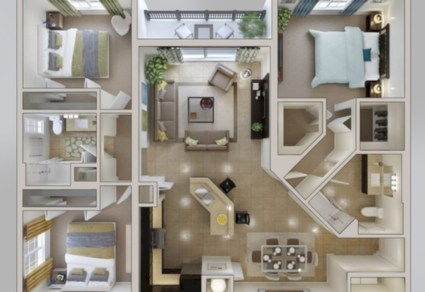 Creative two bedroom apartment plans ideas 30