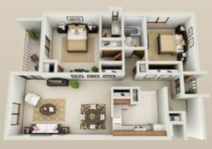 Creative two bedroom apartment plans ideas 36