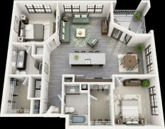 Creative two bedroom apartment plans ideas 40