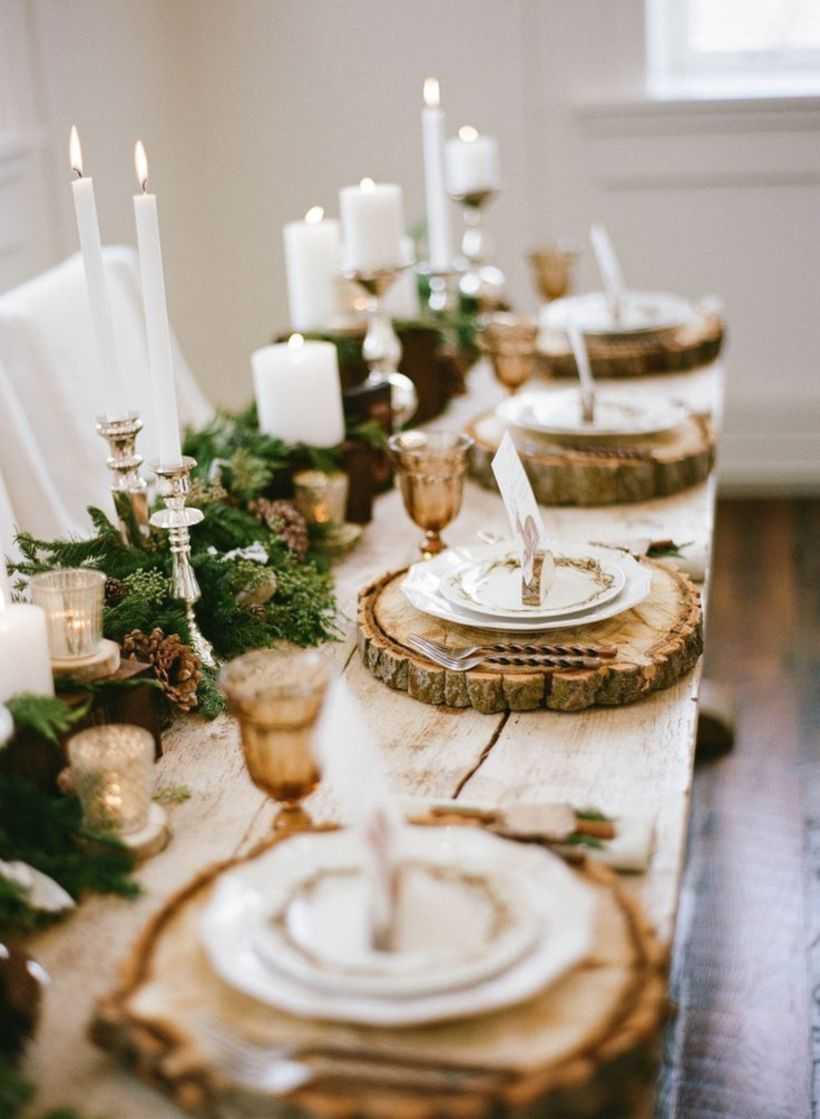 Gorgeous rustic christmas table settings ideas 47 47 & 54 Gorgeous Rustic Christmas Table Settings Ideas - Round Decor