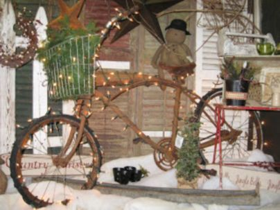 Ideas how to make comfortable rustic outdoor christmas décoration 19