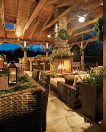 Ideas how to make comfortable rustic outdoor christmas décoration 39