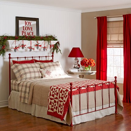 Inspiring christmas bedroom décoration ideas 37