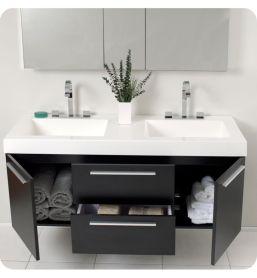 Modern bathroom with floating sink decor (31)