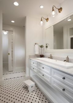 Modern bathroom with floating sink decor (65)