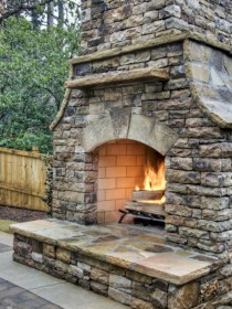 Stunning outdoor stone fireplaces design ideas 15