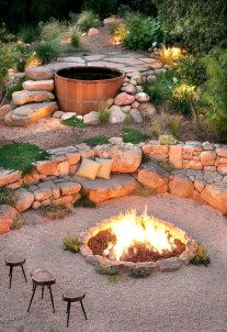 Stunning outdoor stone fireplaces design ideas 17