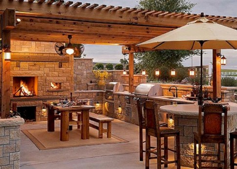 Stunning outdoor stone fireplaces design ideas 18