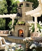 Stunning outdoor stone fireplaces design ideas 26