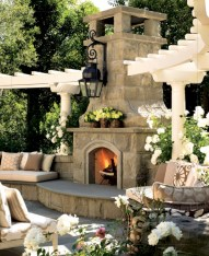 Stunning outdoor stone fireplaces design ideas 26