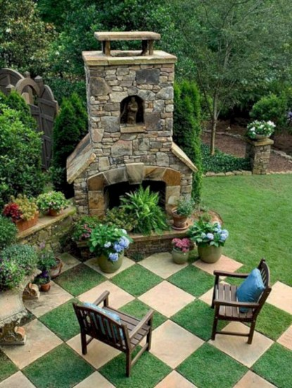 Stunning outdoor stone fireplaces design ideas 31