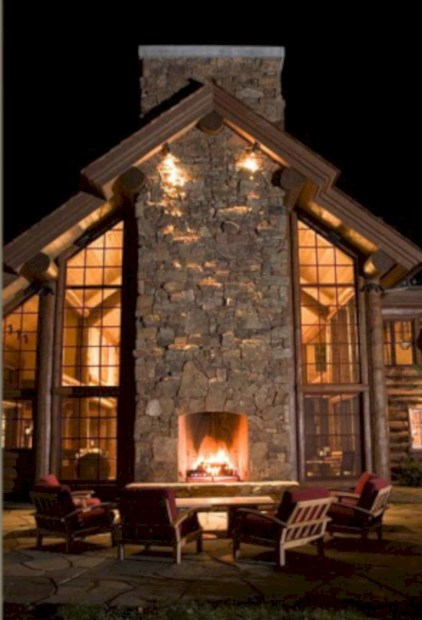 Stunning outdoor stone fireplaces design ideas 34