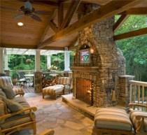Stunning outdoor stone fireplaces design ideas 37