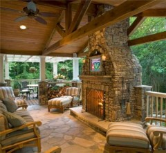 Stunning outdoor stone fireplaces design ideas 37