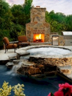 Stunning outdoor stone fireplaces design ideas 42