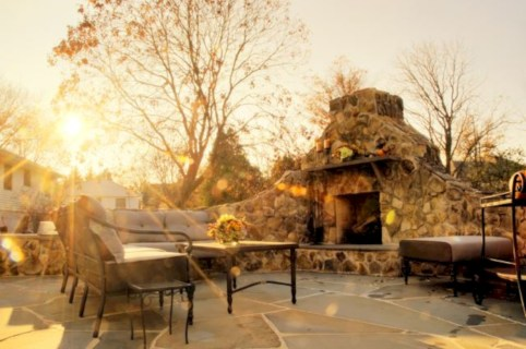 Stunning outdoor stone fireplaces design ideas 43