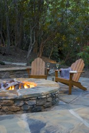 Stunning outdoor stone fireplaces design ideas 44
