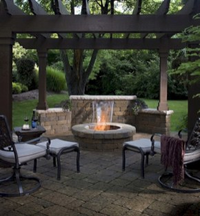 Stunning outdoor stone fireplaces design ideas 45