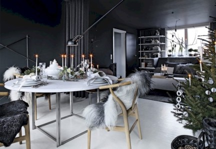 Stylish christmas décoration ideas with stylish black and white 51