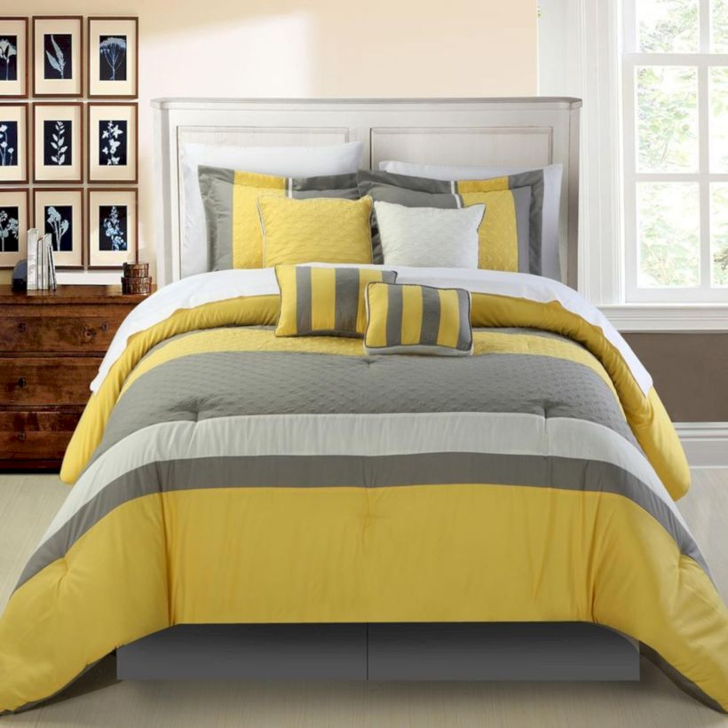 Visually pleasant yellow and grey bedroom designs ideas 06