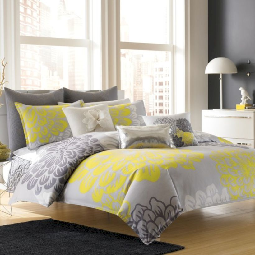 Visually pleasant yellow and grey bedroom designs ideas 10