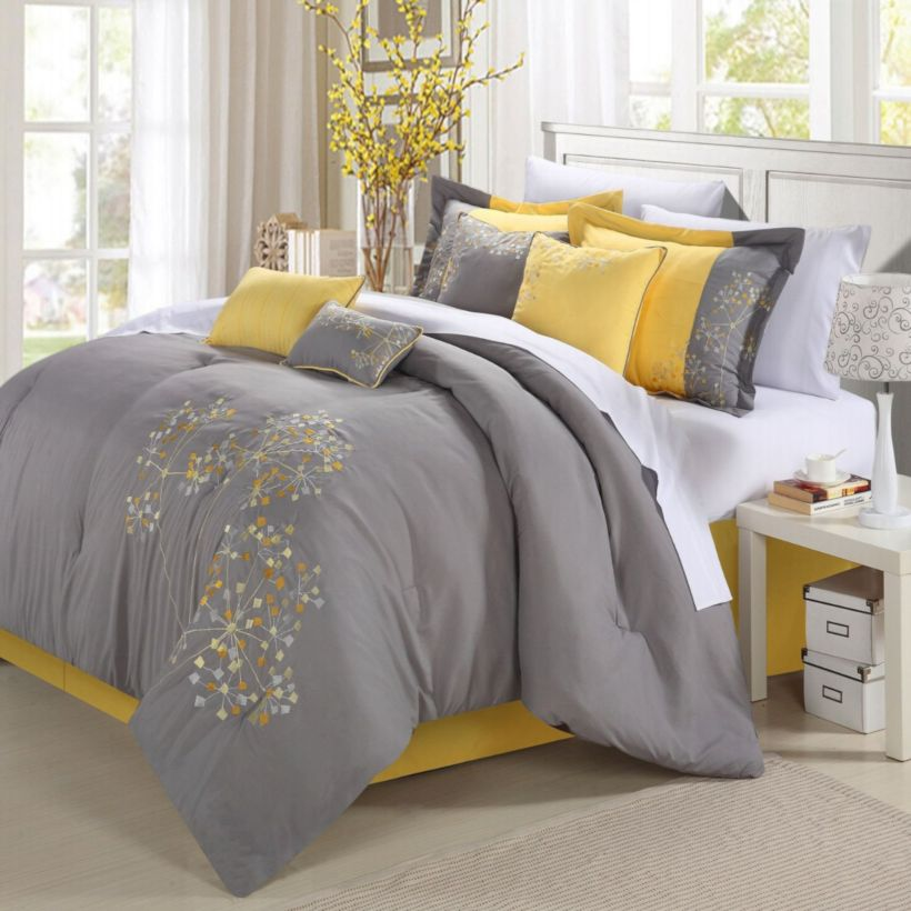 Visually pleasant yellow and grey bedroom designs ideas 14