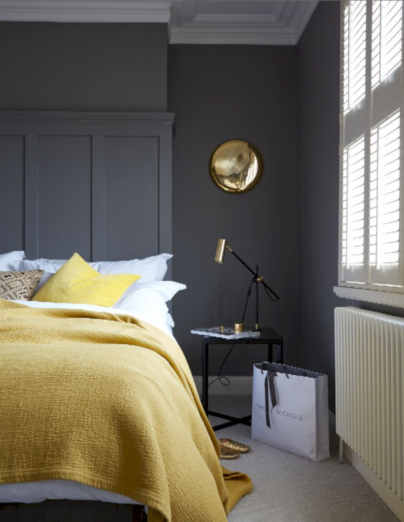 Visually pleasant yellow and grey bedroom designs ideas 15