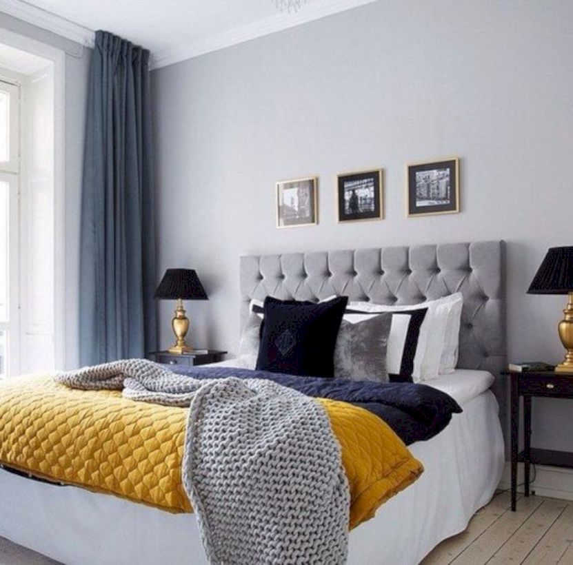 Visually pleasant yellow and grey bedroom designs ideas 21