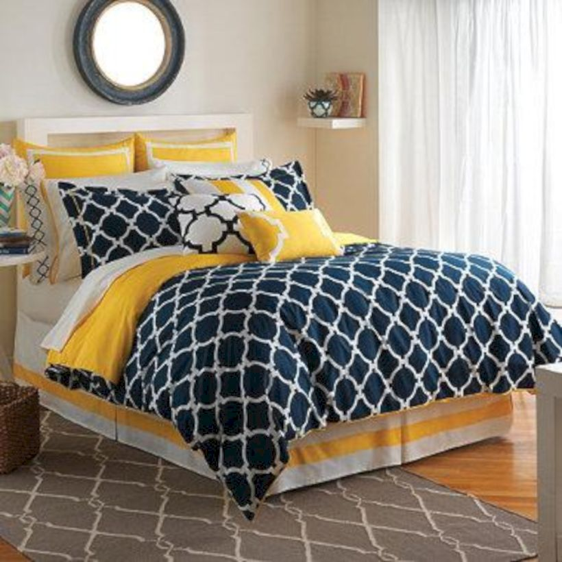 Visually pleasant yellow and grey bedroom designs ideas 38